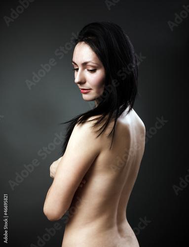 Fototapeten,nude,brünett,hintergrund,grau
