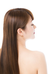 Beautiful hair woman on white background. Portrait of asian.