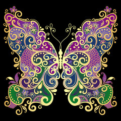 Fantasy gold-colorful butterfly