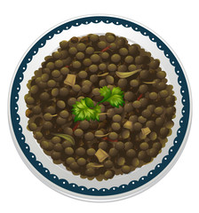 a lentils and a bowl