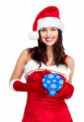Santa helper Christmas girl with a present.