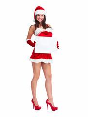 Santa helper Christmas girl with a banner.