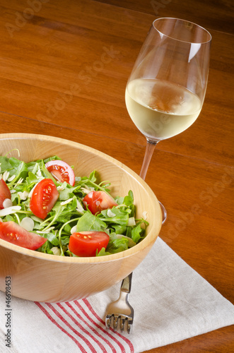 Arugula Salad with a Glass of White Wine