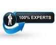 100 pour 100 experts sur bouton web design bleu