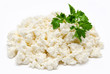 Heap of the fresh cottage cheese with parsley isolated