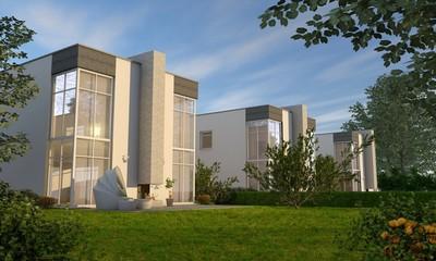 moderne Villen mit Glasfassade