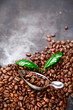 Coffee bean background over grey texture