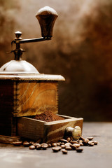 Closeup of vintage coffee grinder