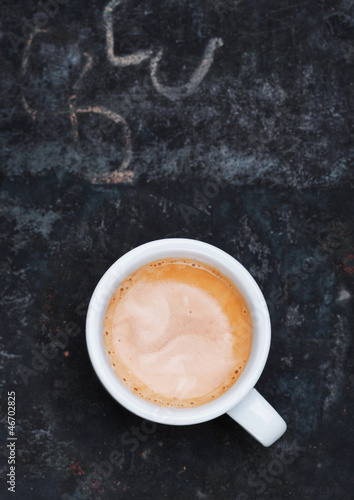 Frothy cup of freshly brewed cappuccino