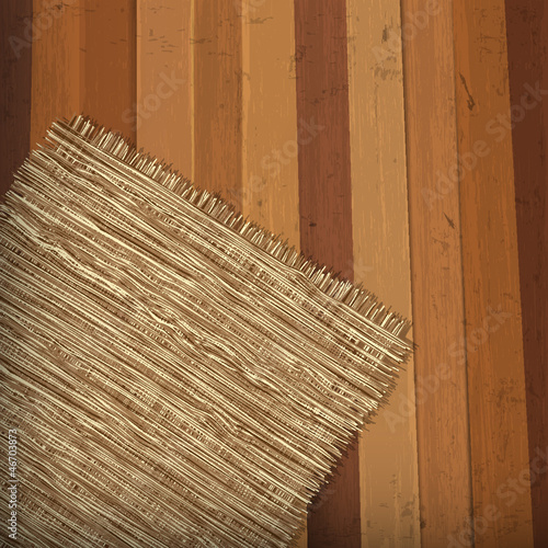 Wooden background with flap burlap