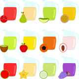 Vector of Colorful Jugs filled with different Fruit Juice