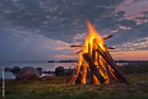 canvas print picture Bonfire in the Nordic summer night