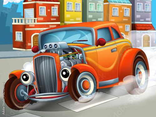 fototapeta na ścianę The happy cartoon hod rod - city look - race