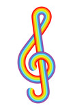 Rainbow treble clef. Vector illustration.