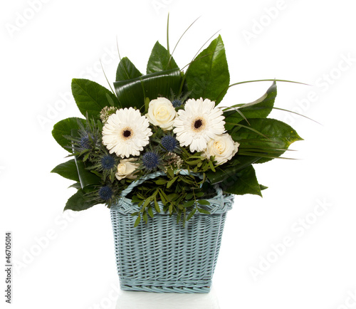 white blue flower bouquet mixed with green leaves isolated on wh