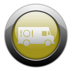 "Yellow Metallic Orb Button ""Food Truck"""