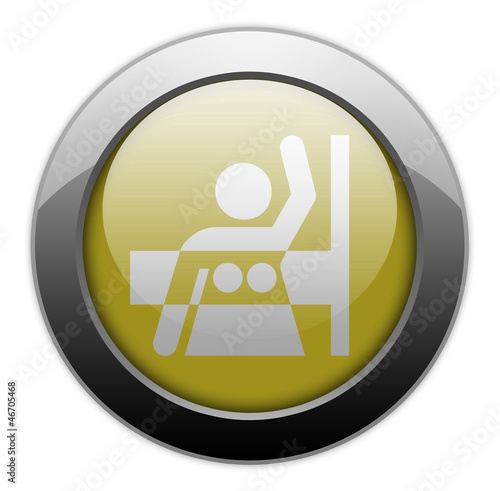 "Yellow Metallic Orb Button ""Mammography"""