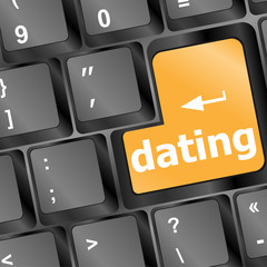 dating computer key showing romance and love