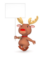 Reindeer with Blank Sign