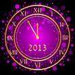 Vector illustration of purple New Year clock