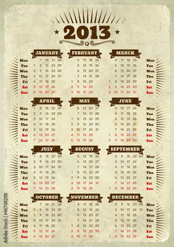 Vintage styled 2013 calendar