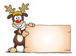 Reindeer standing with Board