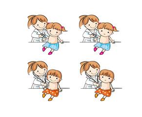 病院で子供が診察と注射を受ける(女の子)
