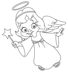 Outlined Christmas angel