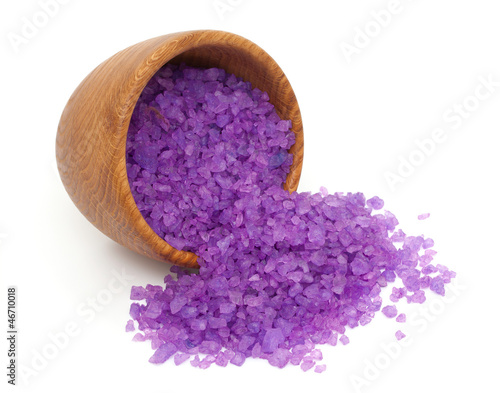 lavender bath salt in a wooden bowl