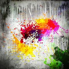 ink splatter on concrete wall