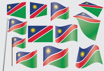set of flags of Namibia vector illustration
