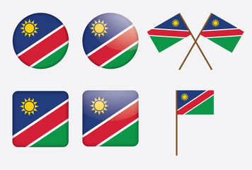 set of badges with flag of Namibia vector illustration