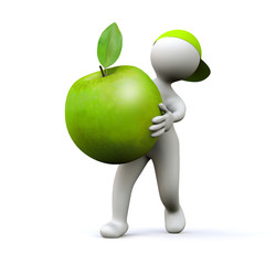 3D Man with green apple
