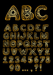 vector golden hand drawn Alphabet
