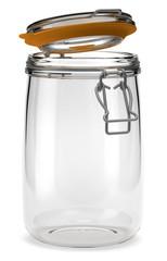 Bocal hermétique en verre sur fond blanc 2