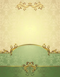 Fototapety Set Seamless pattern in Victorian style Gold and green colors