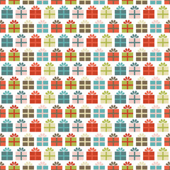 Seamless Pattern Gifts Retro White