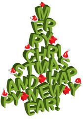albero di natale con lettere