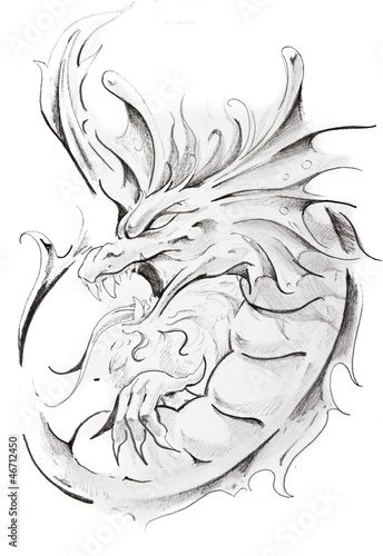 Tattoo sketch of medieval dragon, hand made