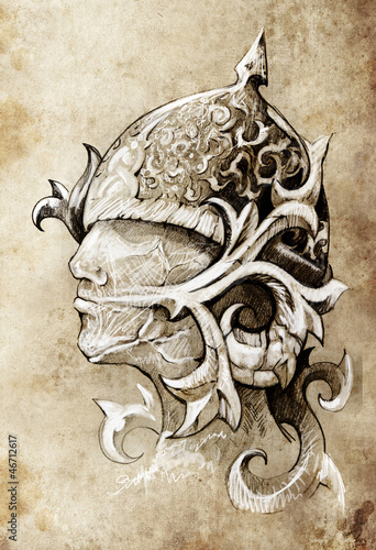 Sketch of tattoo art, warrior, hand made