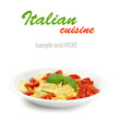 Dish of Italian ravioli with fresh tomatoe on white background