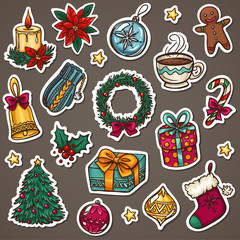 Christmas icon set of xmas decorations and winter things