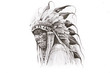 Tattoo sketch of Native American Indian warrior, hand made