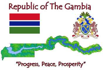 The Gambia Africa national emblem map symbol motto