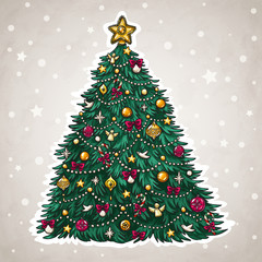 Christmas tree hand drawn style with beautiful decorations