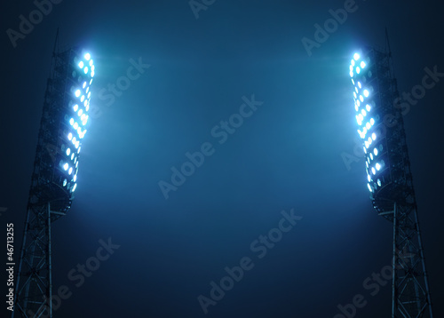 Stadium Lights against Dark Night Sky with Copy Space - 46713255