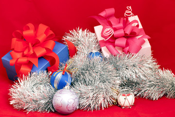 Christmas decoration, with gift boxes with ribbon bow