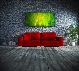 Interior design: red sofa infront of natural stone wall