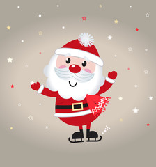 Cute cartoon christmas Santa claus on snowing background