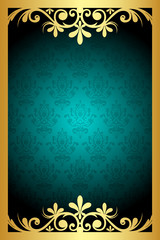 Vector floral turquoise  and gold frame